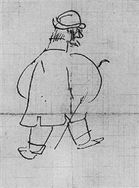 henri-de-toulouse-lautrec-caricature-de-lui-même-vue-de-dos